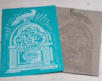 Music City Radio - Blue Block Print