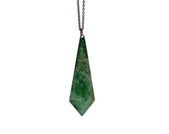 Geometric Necklace / Verdigris Patina Jewelry / Triangle Pyramid Necklace / Geometric Verdigris Necklace