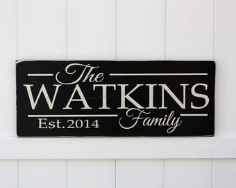 Last Name Sign // Established Famliy Sign // Hand-Painted Wooden Sign // Custom Wall Art // Marriage // Anniversary // Wedding Sign