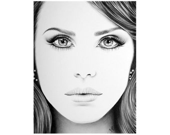 Lana del Rey Minimalism Original Pencil Drawing Fine Art Portrait SALE