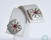 Ruby Stud Earrings - Handmade Fine Silver