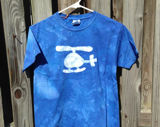 Kids Helicopter Shirt, Blue Helicopter Shirt, Boys Helicopter Shirt, Girls Helicopter Shirt, Batik Kids Shirt (Youth L) SALE