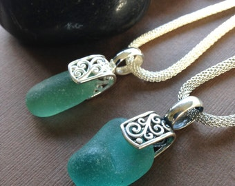 Choose One - Sea Glass Pendants- Sea Glass Sterling Silver Filigree Pendant Necklace