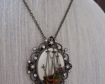 Vintage Ship Cameo Necklace Handset Swarovski Crystals