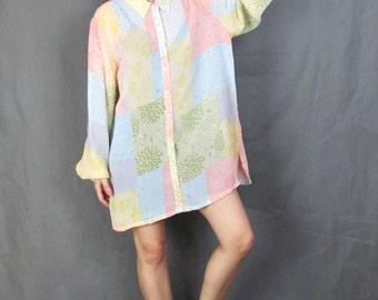 90s Sheer Floral Blouse Pastel Button Down Shirt Long Sleeve Shirt Pink Blue Patchwork Print Shirt Collar Slouchy Blouse Shirt Dress (L/XL)
