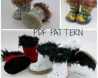 PDF PATTERN for Crochet Boots for  18 inch Dolls