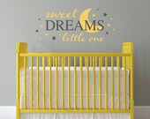 Sweet Dreams Decal - Little one Nursery Decal - Moon wall sticker - Large