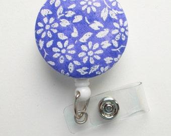 Purple and White Floral - Nurse Badge Holder - Nursing Badge Reel - Retractable Badge Reel - Teacher Badge - Flower Badge Reel - Nurse Gift