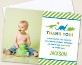 Dinosaur Party Photo Thank You Cards - Professionally printed *or* DIY printable