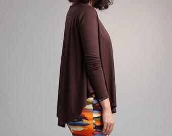 Brown Swing Top with Long Sleeve, Loose Top, Curved Hem Tshirt, Circle Top / Best Seller - Brown Modal