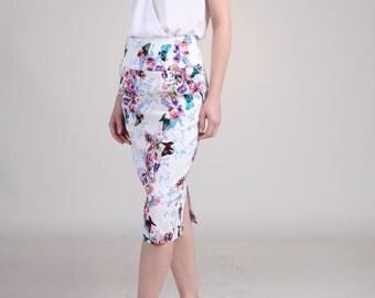 High Waist Pencil Skirt with Pocket / Handmade Skirt - Butterfly with Flower