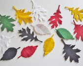 Felt leaves appliques - set of 20
