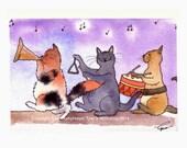 Funny Cat Greeting Card - Cats Cartoon Watercolor Illustration - 'Musicats'