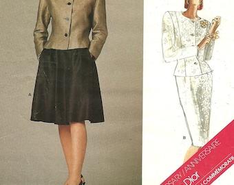 Vogue 1919 Paris Original Vintage Designer Sewing Pattern By Christian Dior // Jacket Skirt Suit  // Size 10
