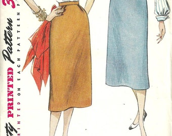 Simplicity 4254 / Vintage 50s Sewing Pattern / One Yard Skirt / Waist 26