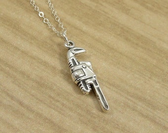 Pipe Wrench Necklace, Sterling Silver Monkey Pipe Wrench Charm on a Silver Cable Chain