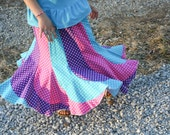 Girls Long Handmade Bright Turquoise, Purple and Pink Polka Dot Swirly Twirl Skirt Size 6/8