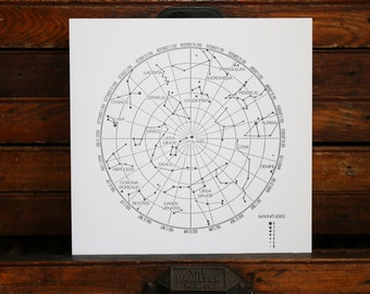 "Letterpress Print ""Constellations"" in Black"