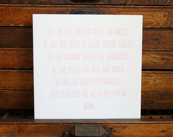 "Letterpress Print ""Rumi"" in Soft Pink"
