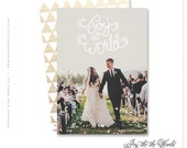 "christmas photo card, holiday photo card, handwritten, just married, modern - ""Joy to the World"""
