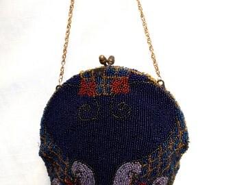 Vintage 1920's Art Nouveau Beaded Bag Purse