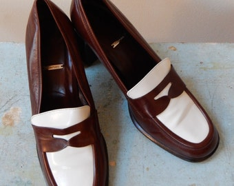 1970s Mid Mod Spectators Two Tone Dark Brown White High Heel Penny Loafers Handmade in Italy for Joan & David Fabulous Eye Candy for Feet