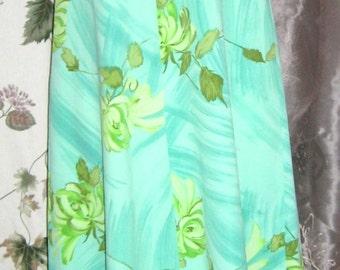 Hawaiian Maxi Dress Seagreen Floral M 60s Vintage