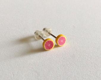 Grapefruit Slice Tiny Post Earrings - Fruit Slice Earrings - Fruit Earrings - Kawaii - Gift - Under 5 dollars - Trendy - Summer