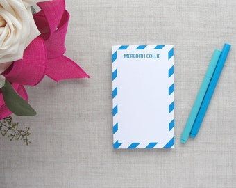 Personalized Notepad | Diagonal Stripe Pattern | Custom Colors