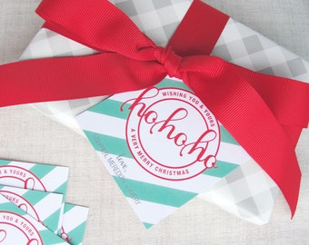 Personalized Holiday Gift Tags | Ho Ho Ho | Set of 25 Square Christmas Hang Tags | Gift Wrap Supplies | Diagonal Stripe Pattern