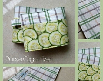 20 inch / 6 pockets Purse / Bag Organizer Insert - (small) Green checked and Cucumber print fabric