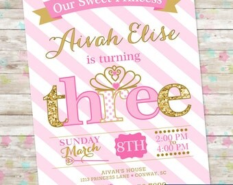 Princess Birthday Invitation, 3rd Birthday Party Invite, Pink and Gold Glitter, THREE Little Princess, Printable Invite, Princess Party, DIY