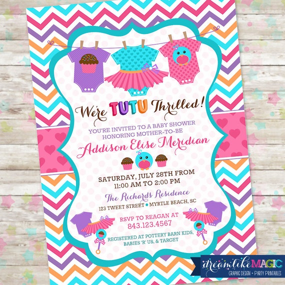 Spring Baby Shower, Chick Baby Shower, Tutu Baby Shower Invite, Cupcakes and Rattles, Printable Invite Design, Printable DIY Invite, Girl