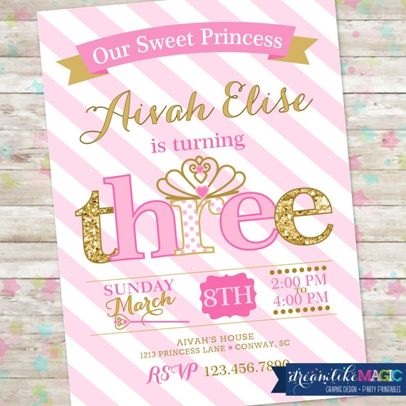 princess birthday invitation 3rd birthday party invite pink, Birthday invitations