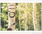 Happy Tree - Cute Aspen Tree Photograph - Birch Tree Art - Birch Tree Photograph - Smiley Face Photo - Kids Wall Art - Nature Photography