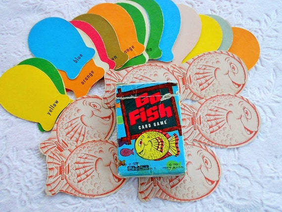 Vintage go fish card game box complete educard 1950s figural for Go fish cards