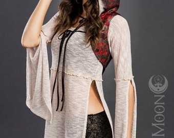 FINAL SALE: The Gypsy Sparkle Hooded Vest in Red Black Gold Baroque by Opal Moon Designs