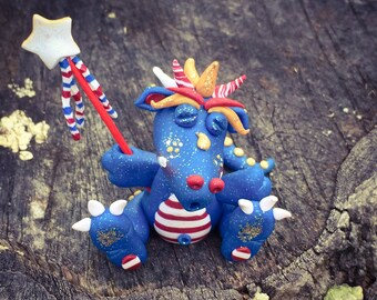Polymer Clay Dragon 'Boomer' - Independence Day Limited Edition Collectible