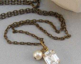 Vintage Diamond,Necklace,Pendant,Brass Necklace,Diamond,Vintage,Vintage Rhinestone,Diamond Necklace,Gold Necklace,Gold valleygirldesigns.