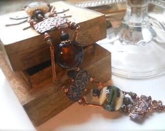 Three Strand Copper and Lamp Work Bracelet