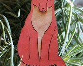 Laser cut and hand painted wooden red fox ornament - smiling and friendly, ready for your tree!