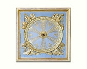French Baroque Architecture Print, Versailles, Blue Gold  Paris Decor, Powder Blue door detail