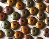 6mm Rondelle Beads - Czech Glass Beads - Metallic Bronze Iris Matte Saucer Beads - Jewelry Making Supply  (50 beads)