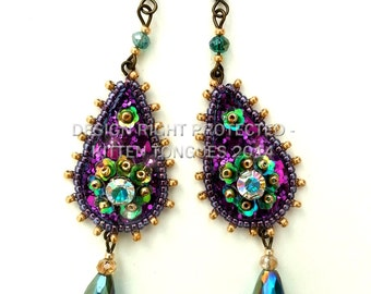 Purple and Green Sparkling Beaded and Sequined Glitter Earrings
