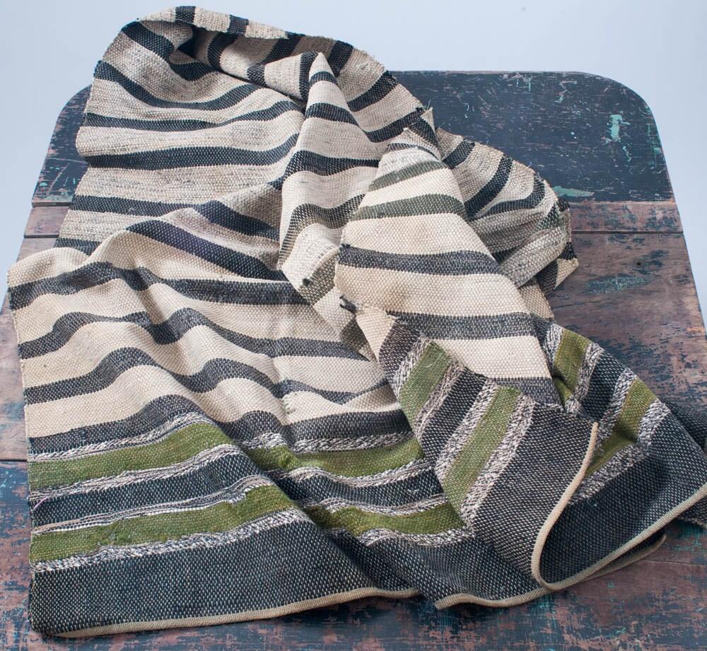 Antique Rag Rug Hand Loomed Long Runner Primitive Folk Art