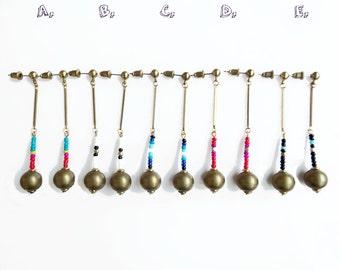 Long Beaded Statement Earrings, Brass Geometric Earrings, Color Blocking Boho Jewelry