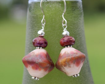 Rose Colored Earrings, Lampwork Glass, Sterling Silver