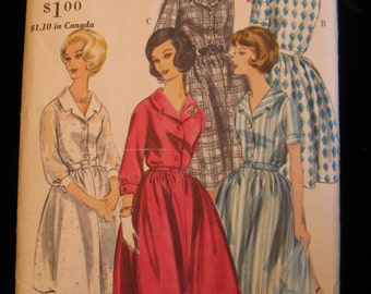 Vintage Early 60s Vogue Pattern 5244, One Piece Dress, Size 14, Partially UC
