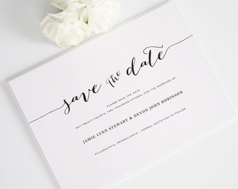 Flowing Script Save the Date - Calligraphy, Vintage, Typography Save the Date shown in Peach - Deposit