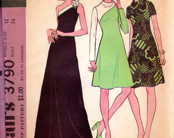 1970s One Shoulder or Colorblock Dress Pattern - Vintage McCall's 3790 - B34 UNCUT